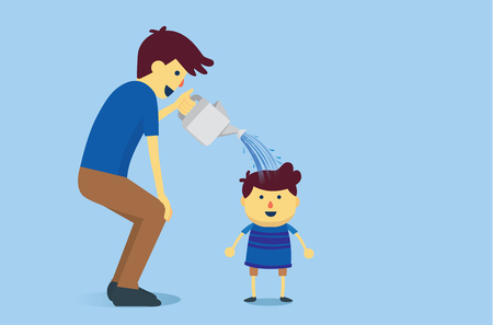 fullbody: Father watering a son with water from watering pot.