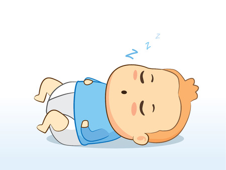 diaper baby: Lovely baby wearing diaper sleeping for good grow.
