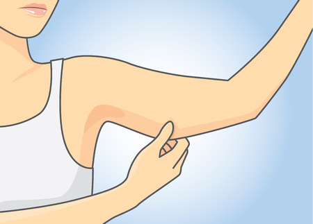 Woman pull skin upper arm area for checking her arm size. Vectores
