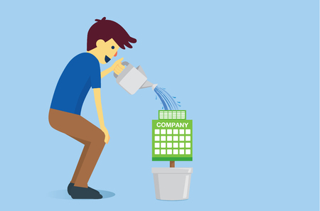 ailment: Man watering the company with water from watering pot. This illustration is concept about business management to grow and success.