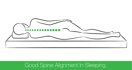 woman lying in bed: The correct spine alignment when sleeping by on the side sleeping position. Illustration