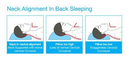 Alineación derecha de cuello, cabeza y el hombro en el sueño con la postura de la espalda para dormir. Este es el estilo de vida saludable ilustración.