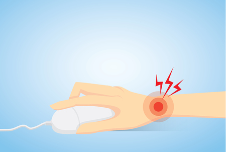 causes: Wrist have pain from working with mouse of computer as wrong which any causes of office syndrome. Illustration
