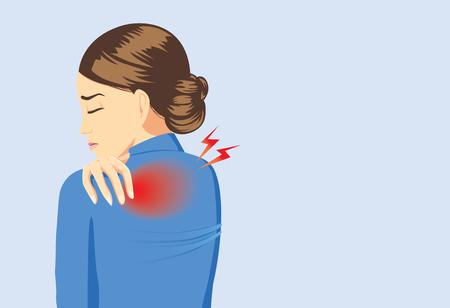 dolor: mujer que trabaja en su traje azul tocando el fondo porque su tiene dolor de espalda Vectores