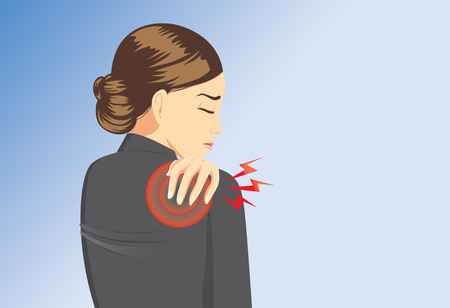 Working woman in black suit touching her back because her have back pain