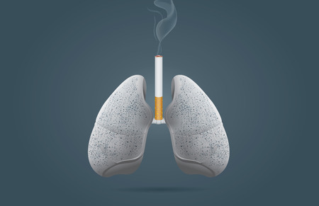 emphysema: Lung cancer from smoking Illustration