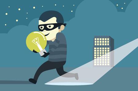 run away: Bandit wearing mask robbery idea then run away from arrest. Illustration