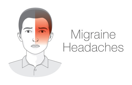 doctor stress: Pain on one side of head this is headache migraine symptoms. Medical illustration.