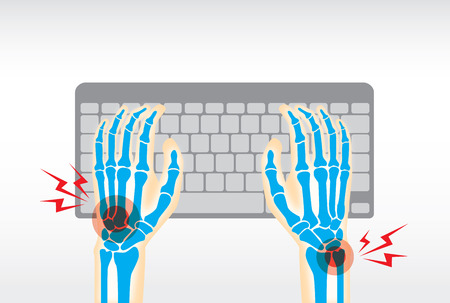 worker person: Working with keyboard long time is cause of pain at hand, wrist, bone, joints and muscle.