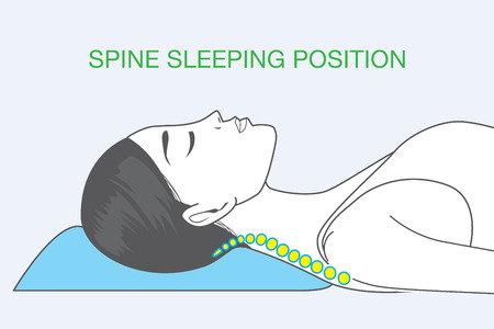 Shape of human spine in sleeping which affect back health Imagens - 50338181