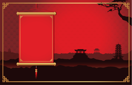 chinese border: Red Chinese hanging not have text front of China scene background decorate with China style frame. Illustration