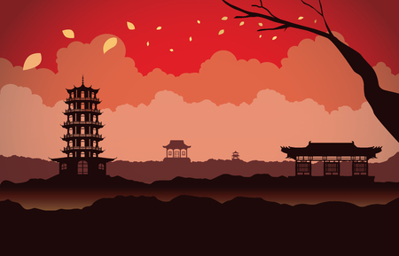 blown: Different Chinese architecture on mountain in scene. This is illustration about China background Illustration