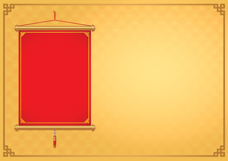 Red Chinese hanging not have text front of gold background decorate with China style frame.