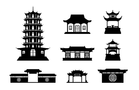 buildings vector: Silhouette Chinese architecture shape set on isolated