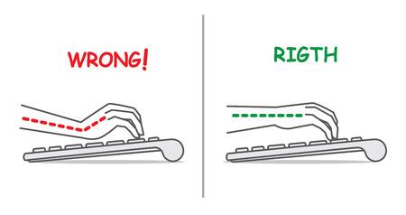 Gids voor de hand positie om het toetsenbord te gebruiken corrigeren Vector Illustratie