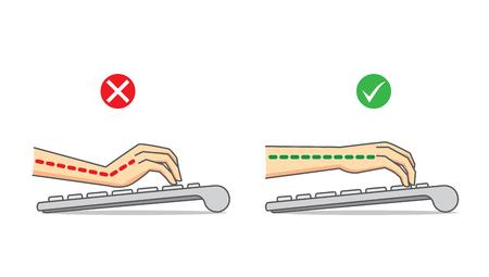 typing: Guía de buena posición de la mano y el brazo en el teclado de su uso para el cuidado de la salud
