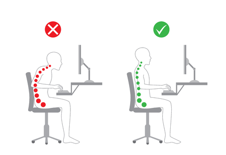 good or bad: Correct body alignment in sitting working with computer Illustration