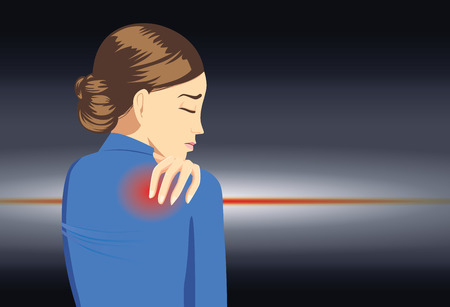 arthritic: Working woman in blue suit touching her back because her have back pain
