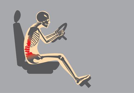 posición de sentado mal en la conducción hacen dolor en la espalda del conductor. Esta ilustración sobre el cuidado de la salud y estilo de vida. Ilustración de vector