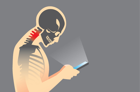 bad eyes: Neck bone and muscles have pain because smartphone addiction and play long time.
