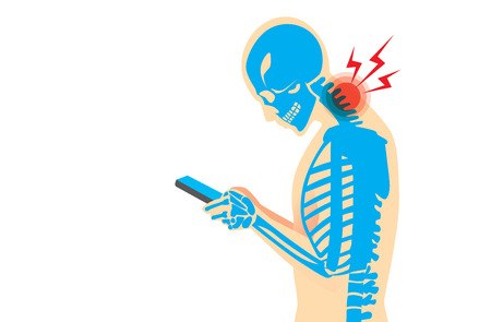 bent over: Neck bone and muscles have pain because smartphone addiction and play long time.