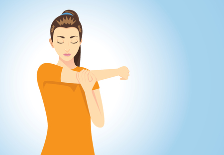 Muscles stretching posture for aches treatment at shoulder, arm, neck and back from sitting long time