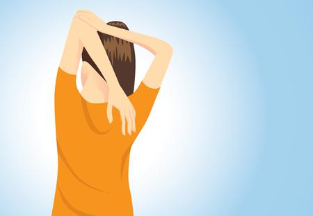 어깨에 통증 치료를 위해 자세를 스트레칭 근육이 오랜 시간 앉아에서 다시 팔과 일러스트