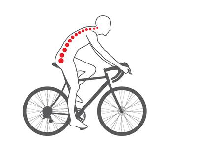 silueta ciclista: Dolor en el área posterior del motorista de entrenamiento con la bicicleta. Médica y el deporte ilustración. Vectores