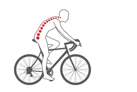 exercise bike: Pain at back area of biker from workout with cycling. Medical and sport illustration.