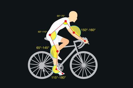 Orientación del buen ángulo del cuerpo para aumentar la calidad y la seguridad en bicicleta. Esto se llama bicicleta de ajuste o de los accesorios de bicicletas Ilustración de vector