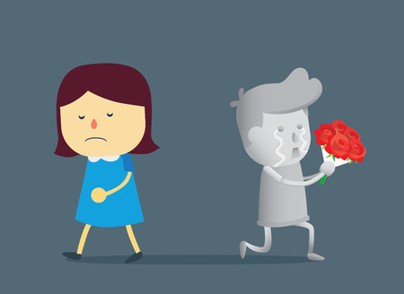 sad love: Man in kneeling posture had a shock because the woman refuse to get his flower. He solid as a rock from broken heart. Illustration