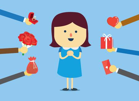 Mujer populares conseguir muchos regalos en el día de San Valentín Ilustración de vector