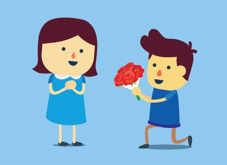 El hombre de rodillas hacia abajo y dar manojo de rosas en la mano de mujer bonita. Esto está mostrando su amor.