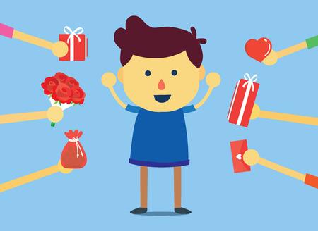 mucha gente: Hombre populares conseguir muchos regalo de muchas personas en el día especial.