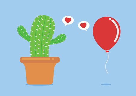love very: Cactus have fallen in love with balloon. This concept about try to love even very foolish and risk.
