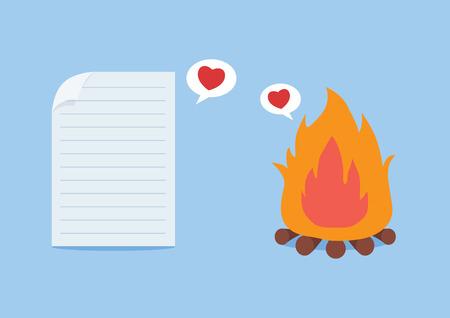 enamorados caricatura: Papel haber ca�do en el amor con el fuego. Este concepto acerca de tratar de amar incluso muy tonto y el riesgo. Vectores