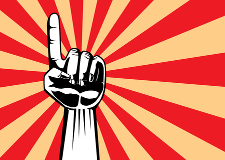 Pointing hand to top on red retro style background.