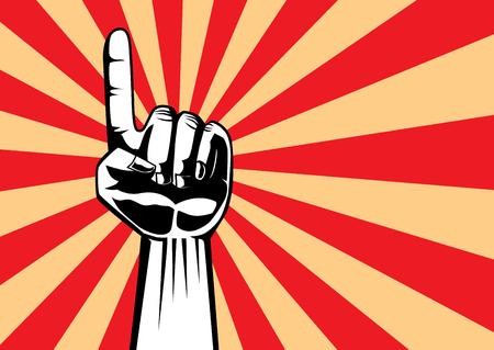 Wskazując ręką do góry na czerwonym tle w stylu retro.