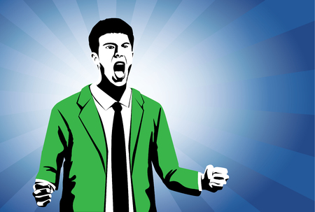 solicit: Man in green suit lifting up fist and shout with happy feeling on brown background. Illustration of people in two tone color retro style.