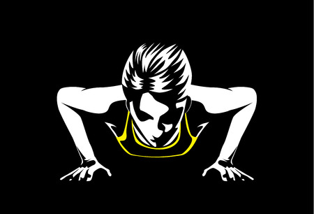Sport woman doing push ups for muscular build at arm and shoulder. This illustration about sport and healthy 일러스트