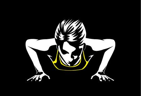 femme Sport faire push ups pour construire musculaire au bras et à l'épaule. Cette illustration sur le sport et en bonne santé