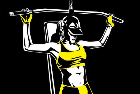 mujer sana en ropa deportiva muscular edificio con el equipo de levantamiento de pesas. Esta ilustración acerca de la salud y el deporte.