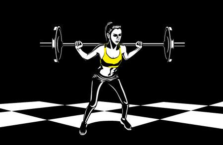 mujer sana en ropa deportiva haciendo el levantamiento de peso exercises.This ilustración sobre la forma física y el deporte. Ilustración de vector