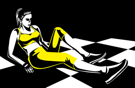 get in touch: Woman in yellow sportswear make leg exercise on checkered floor. Illustration about sport and health