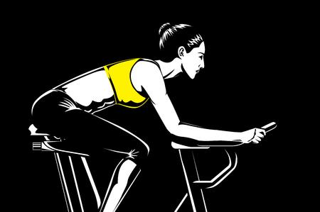 Piękna kobieta robi ćwiczenia na rowerze z roweru na siłowni. Ta ilustracja na temat przydatności i sportu.