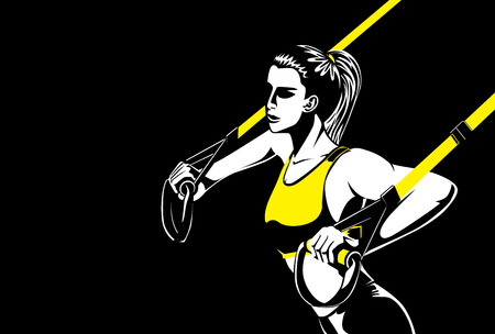 straps: Sport woman doing upper body exercise with fitness straps in push ups posture. This illustration about fitness and sport. Illustration