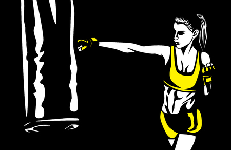 asian woman: Woman wearing workout gloves punching heavy bag on black background. Illustration about healthy lifestyle. Illustration