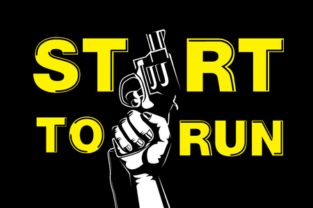 top gun: Hand holding gun for fired to starting running competitive and wording start to run.