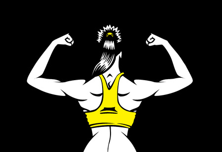 bodybuilding: Healthy woman in yellow vest to flex his back muscles on isolated background