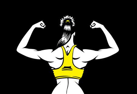 mujer sana en el chaleco amarillo a flexionar sus músculos de la espalda en el fondo aislado